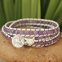 Leather and amethyst wrap bracelet, 'Lilac Tulip'