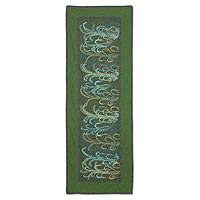 Cotton table runner, 'Emerald Fields' - Table Runner Decorated with Rice Design