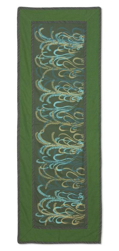 Cotton table runner, 'Emerald Fields' - Cotton table runner