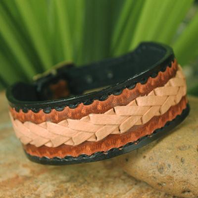 Men's leather wristband bracelet, 'Thai Cowboy' - Men's Handcrafted Leather Wristband Bracelet from Thailand
