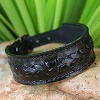 Men's leather wristband bracelet, 'Thai Night'