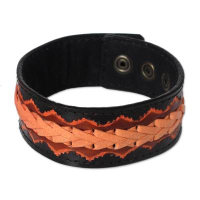 Men's leather wristband bracelet, 'Bangkok Casual' - Men's Hand Made Leather Wristband Bracelet