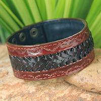 Men's leather wristband bracelet, 'Chiang Rai Trek'