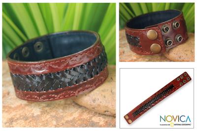 Men's leather wristband bracelet, 'Chiang Rai Trek' - Men's Handcrafted Leather Wristband Bracelet