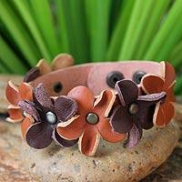 Leather wristband bracelet, 'Woodland Flowers' - Leather Wristband Bracelet Handmade in Thailand