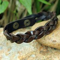 Men's leather wristband bracelet, 'Three Rivers'