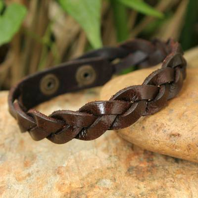 Men's leather wristband bracelet, 'Three Rivers' - Men's Leather Wristband Bracelet