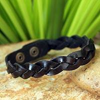 Men's leather wristband bracelet, 'Three Dark Rivers'
