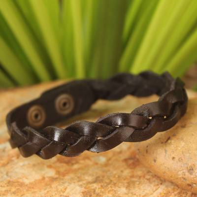 Men's leather wristband bracelet, 'Three Dark Rivers' - Men's Artisan Crafted Leather Wristband Bracelet