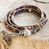 Jasper wrap bracelet, 'Forest Flower' - Handmade Jasper and Leather Bracelet from Thailand
