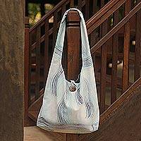 Cotton shoulder bag, 'Thai Tempest' - Handcrafted Cotton Shoulder Bag