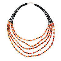 Carnelian beaded necklace, 'Joyous Romance'