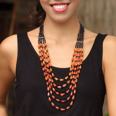 Carnelian beaded necklace, 'Joyous Romance' - Handcrafted Beaded Carnelian Necklace