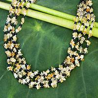 Citrine beaded necklace, 'Midnight Honey' - Beaded Citrine Necklace