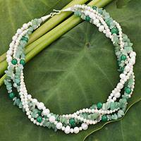 Cultured pearl and aventurine torsade necklace, 'Forest Cloud' - Pearl and Quartz Torsade Necklace