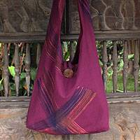 Cotton shoulder bag, 'Orchid Sigh' - Cotton shoulder bag