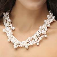 Pearl strand necklace, 'Perfectly Lovely'