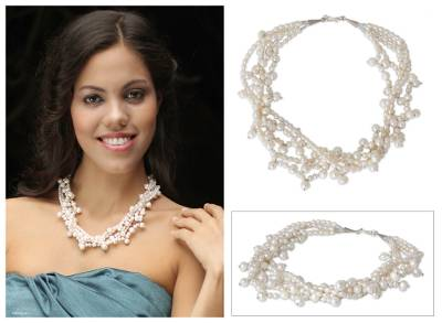 Pearl strand necklace, 'Perfectly Lovely' - Handcrafted Pearl Strand Necklace