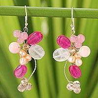 Cultured pearl and rose quartz cluster earrings, 'Radiant Bouquet' - Handcrafted Cultured Pearl and Rose Quartz Cluster Earrings