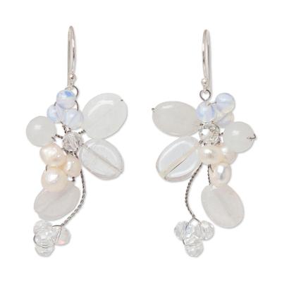 Pearl and Quartz Dangle Earrings