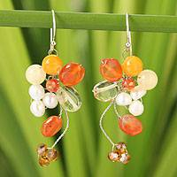 Pearl and carnelian cluster earrings, 'Radiant Bouquet' - Unique Beaded Carnelian Earrings