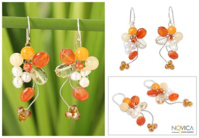 Pearl and carnelian cluster earrings, Radiant Bouquet