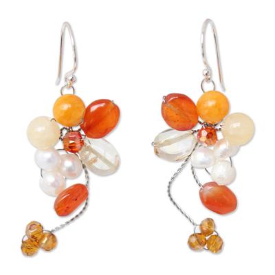 Unique Beaded Carnelian Earrings