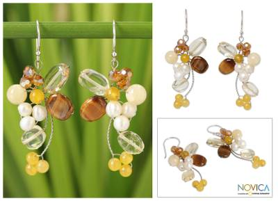 Pearl and tiger's eye cluster earrings, 'Radiant Bouquet' - Handcrafted Citrine and Tiger's Eye Beaded Earrings