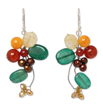 Carnelian and Citrine Dangle Earrings