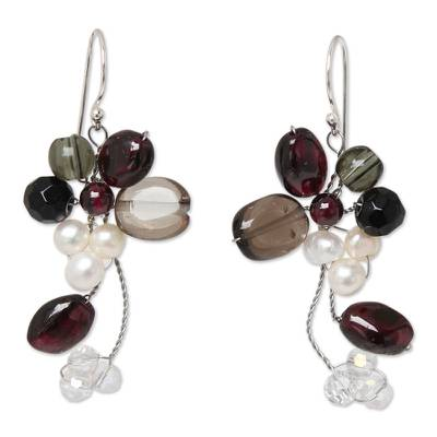 Cultured pearl and garnet cluster earrings, 'Radiant Bouquet' - Smoky Quartz and Garnet Dangle Earrings