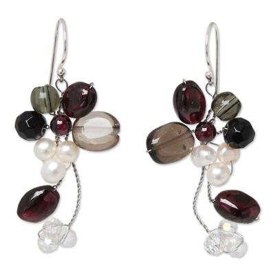 Smoky Quartz and Garnet Dangle Earrings