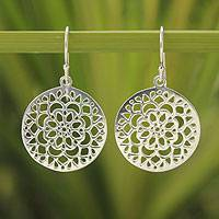 Sterling silver flower earrings, 'Chakra Moons' - Floral Sterling Silver Dangle Earrings
