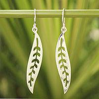 Sterling silver dangle earrings, 'Frozen Leaves' - Sterling Silver Dangle Earrings