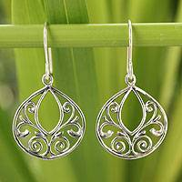 Sterling silver dangle earrings, 'Ornate Lace'