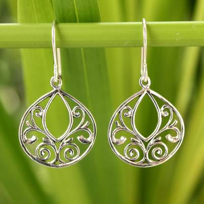 Sterling silver dangle earrings, 'Ornate Lace' - Hand Made Sterling Silver Dangle Earrings from Thailand