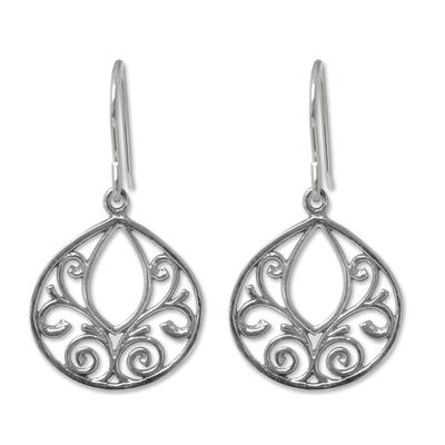 Sterling silver dangle earrings, 'Ornate Lace' - Hand Made Sterling Silver Dangle Earrings from Thailand