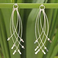 Sterling silver dangle earrings, 'Early Rain' - Hand Made Silvery Dangle Style Earrings.