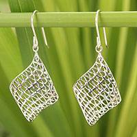 Sterling silver dangle earrings, 'Love Net' - Sterling silver dangle earrings