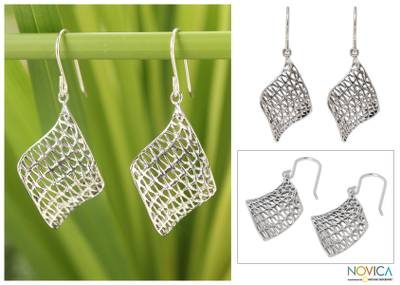 Sterling silver dangle earrings, 'Love Net' - Sterling silver dangle earrings