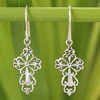 Sterling silver dangle earrings, 'Ornate Cross'