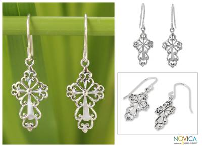 Sterling silver dangle earrings, 'Ornate Cross' - Sterling Silver Religious Dangle Earrings