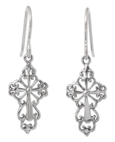 Sterling Silver Religious Dangle Earrings