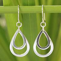 Sterling silver dangle earrings, 'Purity of Rain'