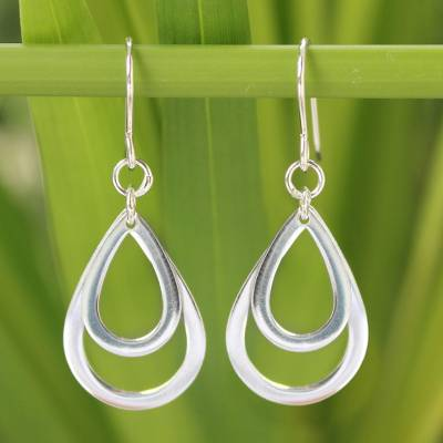 Sterling silver dangle earrings, 'Purity of Rain' - Silver Dangle Earrings