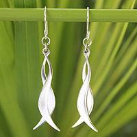 Sterling silver dangle earrings, 'Thai Breezes' - Fair Trade Sterling Silver Dangle Earrings