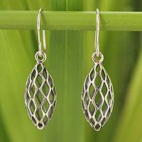 Sterling silver dangle earrings, 'Nature Amulet' - Handcrafted Sterling Silver Dangle Earrings
