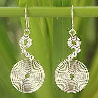 Sterling silver dangle earrings, 'Hypnotic Visions' - Handcrafted Sterling Silver Dangle Earrings