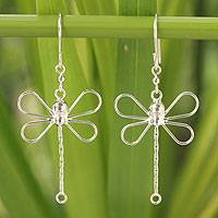 Sterling silver dangle earrings, 'Dragonfly Beauty' - Fair Trade Dragonfly Sterling Silver Earrings
