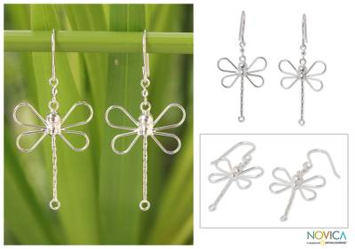 Sterling silver dangle earrings, 'Dragonfly Beauty' - Sterling Silver Dangle Earrings