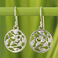 Sterling silver dangle earrings, 'Leafy Bower' - Hand Crafted Sterling Silver Dangle Earrings
